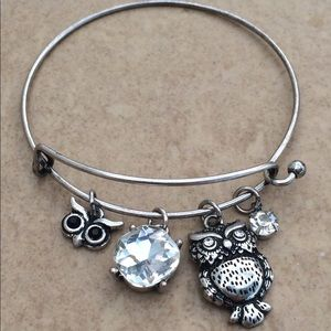 Silver Tone Crystal Owl Bird Charm Bangle Bracelet